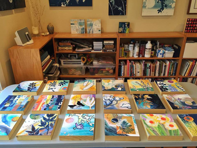 Linda Clark Johnson Studio Watercolor, Collage, Cyanotype