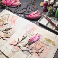 Linda Clark Johnson Watercolor, Collage, Magnolia
