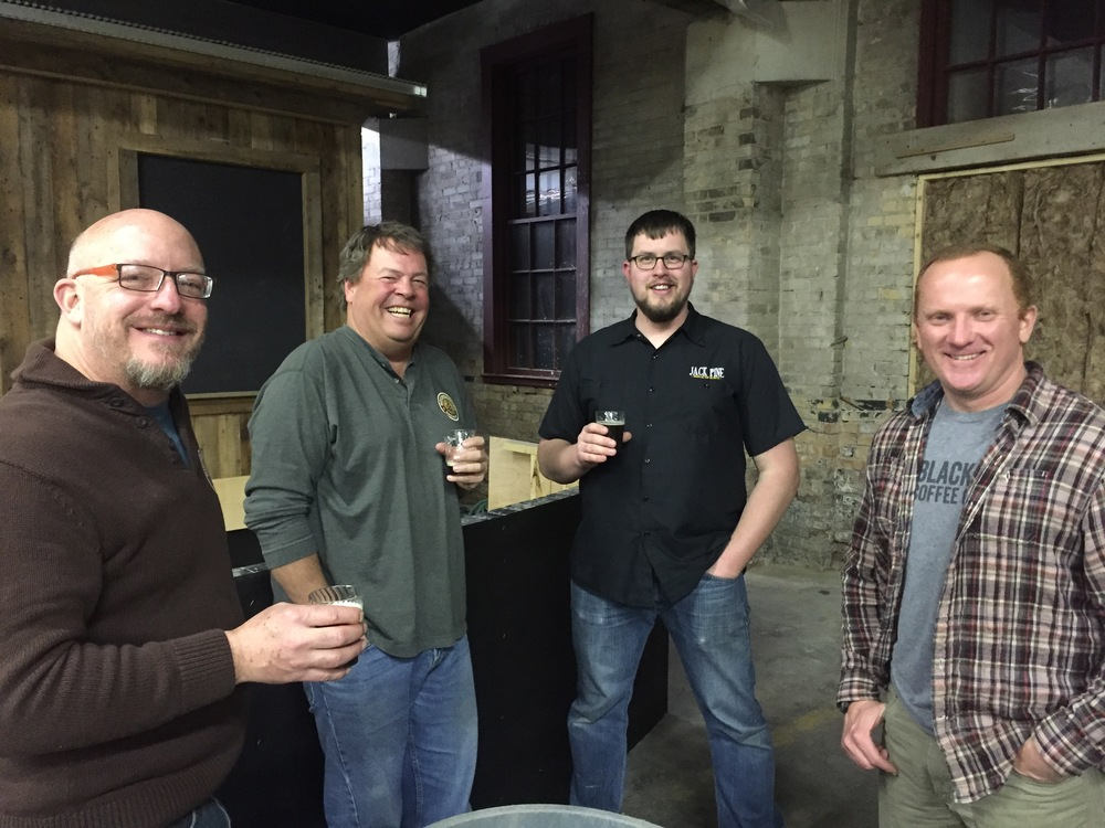 Pictured L to R:  Brew Engineer Chuck, Finance Engineer Dan, Jack Pine's Founder Pat, and President Engineer Mark.