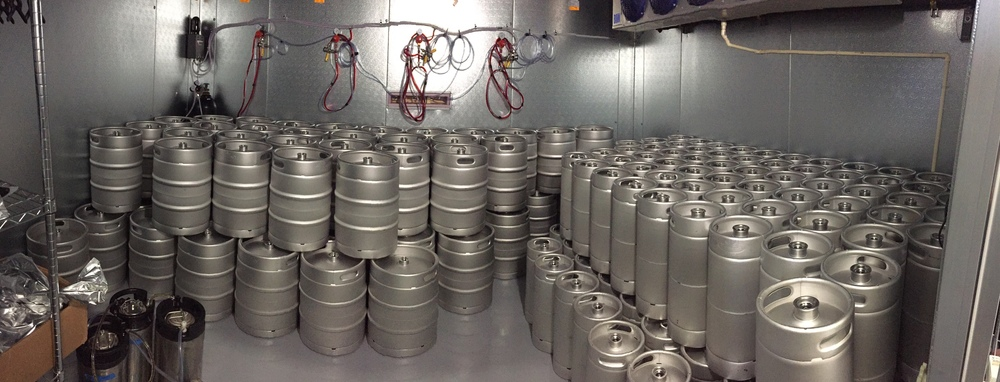 Yet another landscape photo this time of our bright shiny new (sadly empty) kegs.