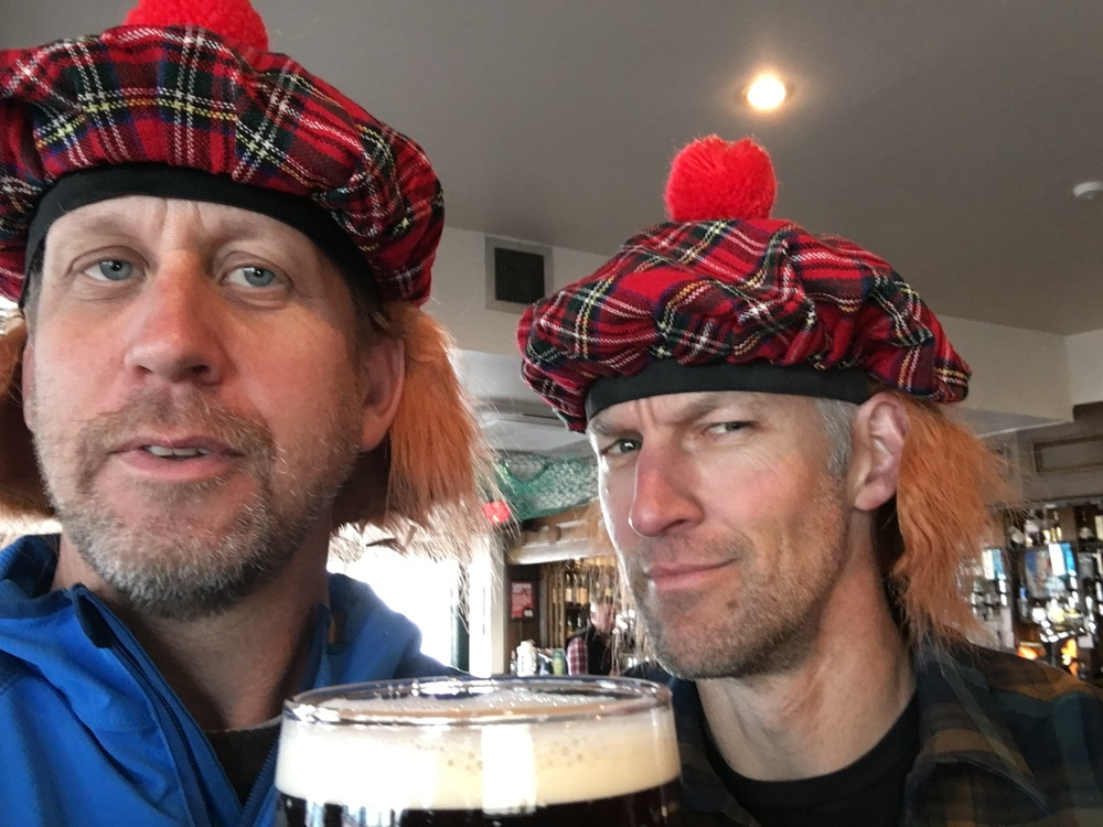This is a picture of Roundhouse investor Tim (left), and his totally platonic friend Glebe.  Tim lives in Utah and has been talking about helping out at the brewery somehow.  So he went to Scotland to drink beer and ride mountain bikes.  Wait, what!  How the hell does that work.  I don't think that helps us at all.