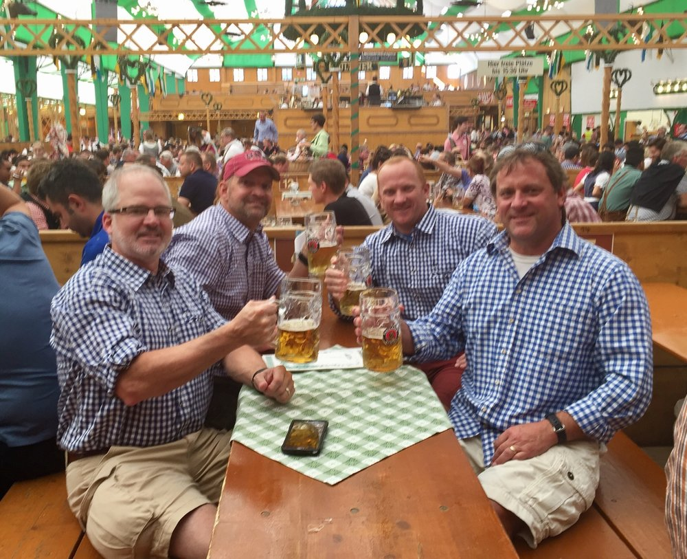 Four days of Octoberfest at Roundhouse was not enough to quench these joker's thirst.  They had to head to Germany for 10 days of beer drinking at the real Octoberfest.  Looks like Mark and Nick decided to give their testicles a break from the stifling heat of lederhosen and go with the matching cargo shorts and tablecloth shirts.