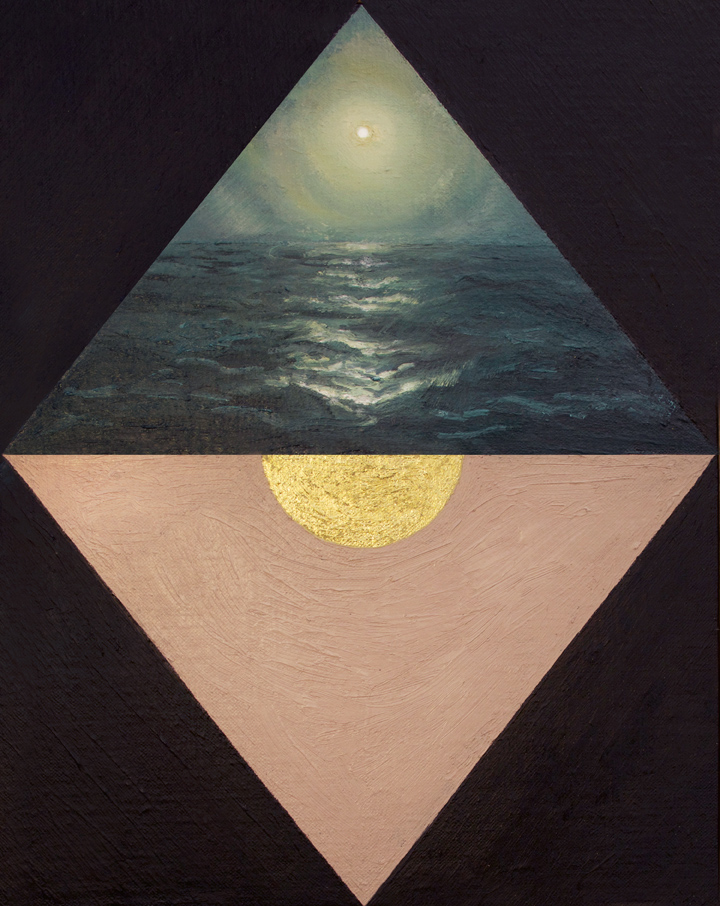 Gold Ocean , 2015 Oil and 24k gold leaf on canvas board 9 x 12 in