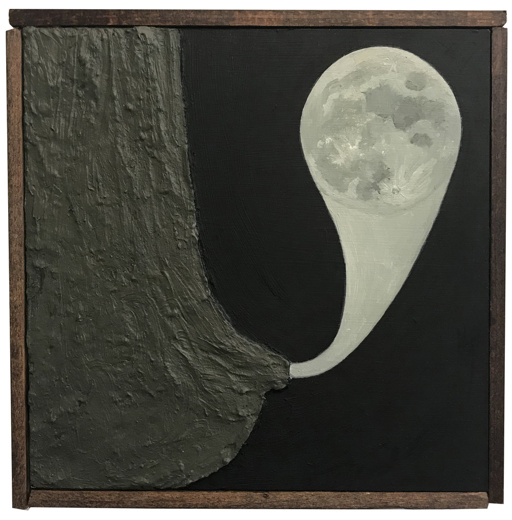 Moon Boob , 2017 Oil on board, wood frame 6.25 x 6.25 in