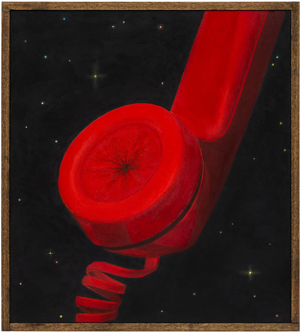 Hotline , 2018 Oil on board, wood frame 10.5 x 9.5 inches