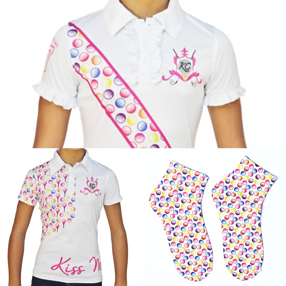Just a few of Kissi Couture's new, pairable and colorful golf ball pattern apparel for girls
