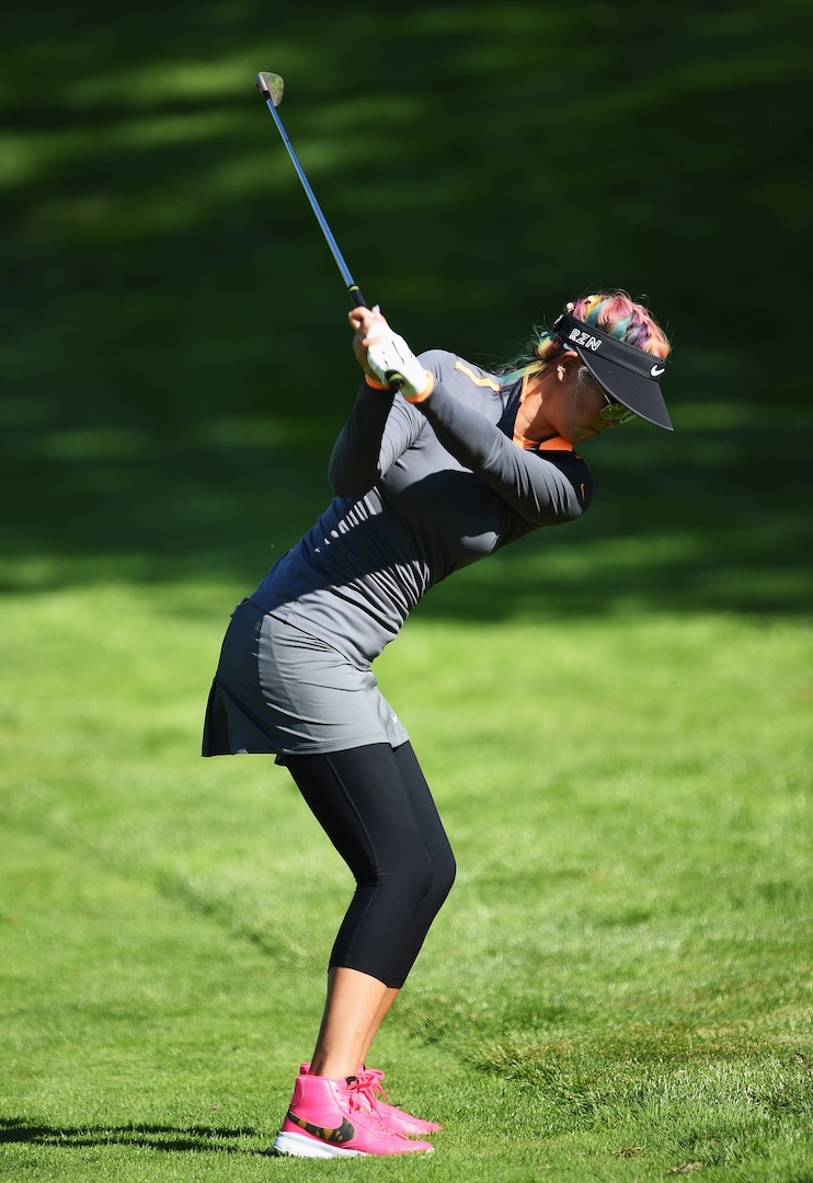 Michelle Wie makes her first appearance in pink Nike Blazer Golf Shoes at the 2015 Evian Championship