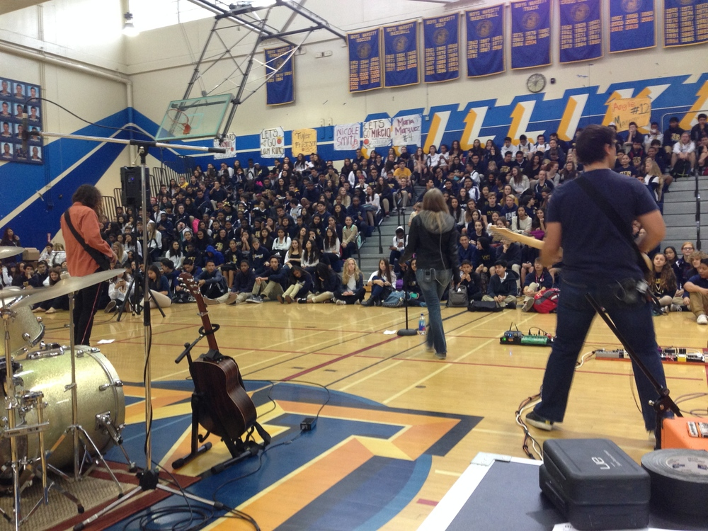 Playing our very first  IAmACockeyedOptimist.Org  Assembly at Milikan High School, Long Beach, CA.