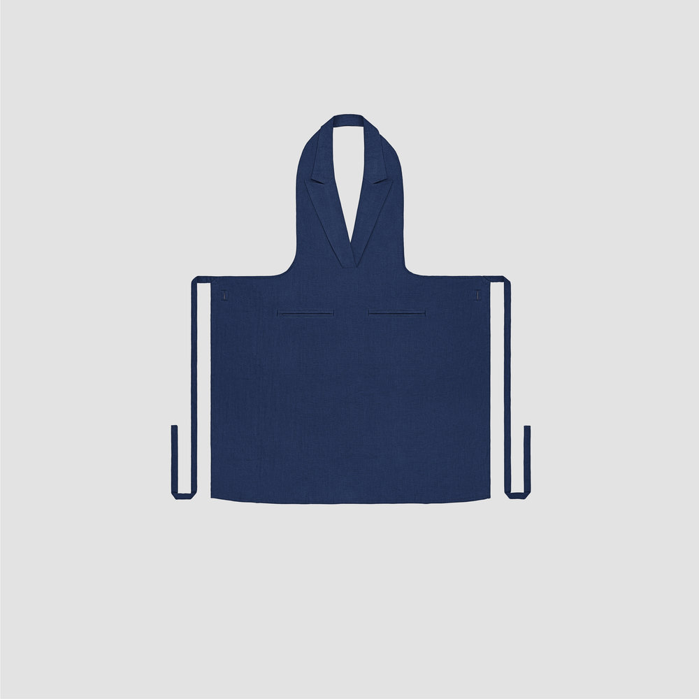 Unisex Formal Collar Apron in Navy Linen