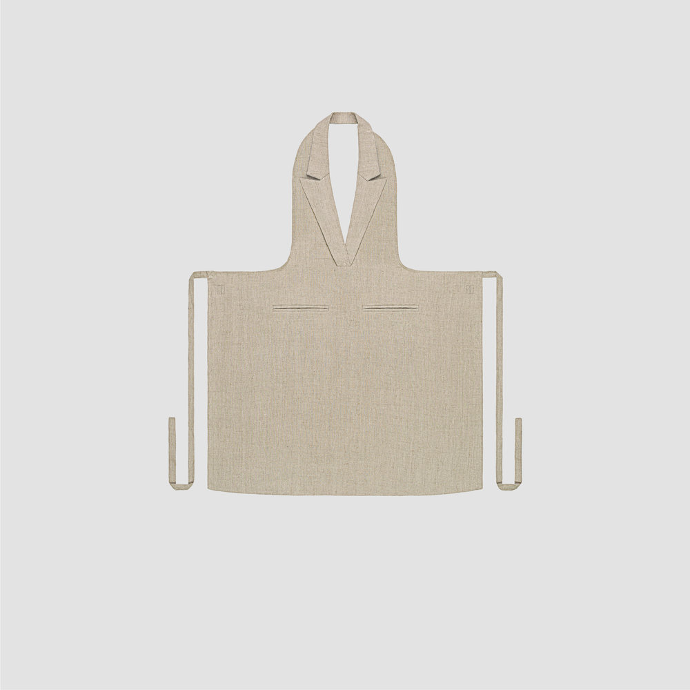 Unisex Formal Collar Apron in Natural Linen