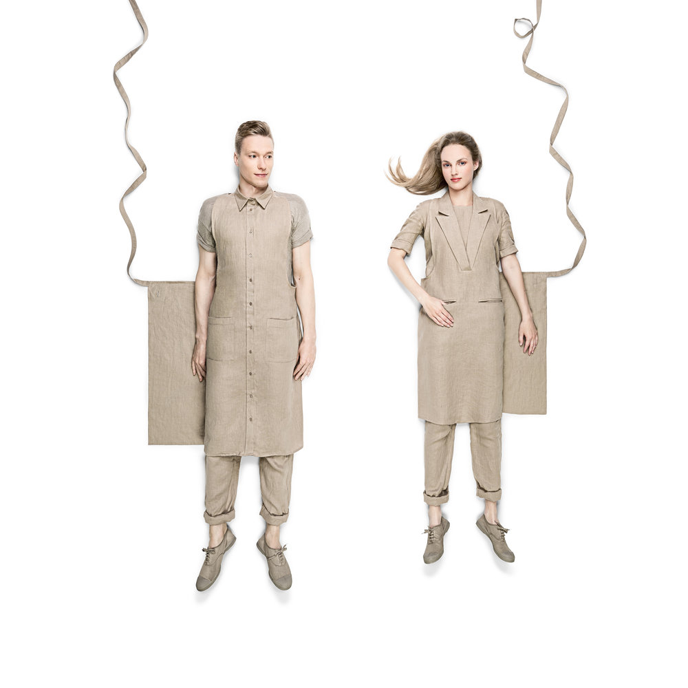 Unisex Shirt & Formal Collar Aprons in Linen