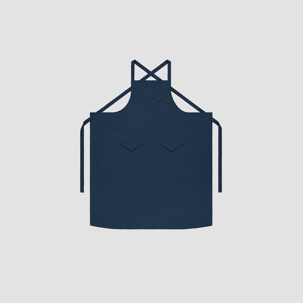 Unisex Triangle Pocket Apron in Navy Linen