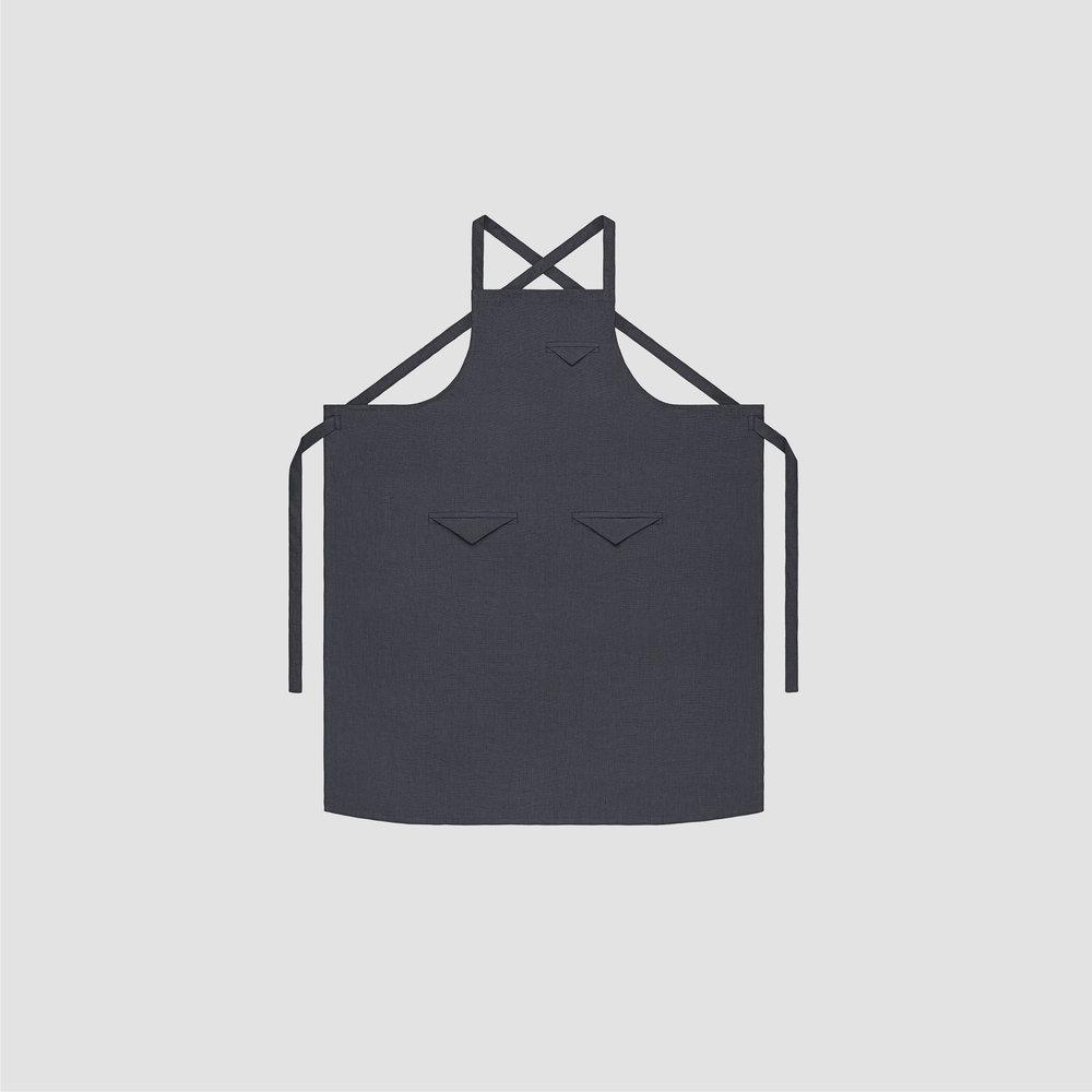 Unisex Triangle Pocket Apron in Grey Linen