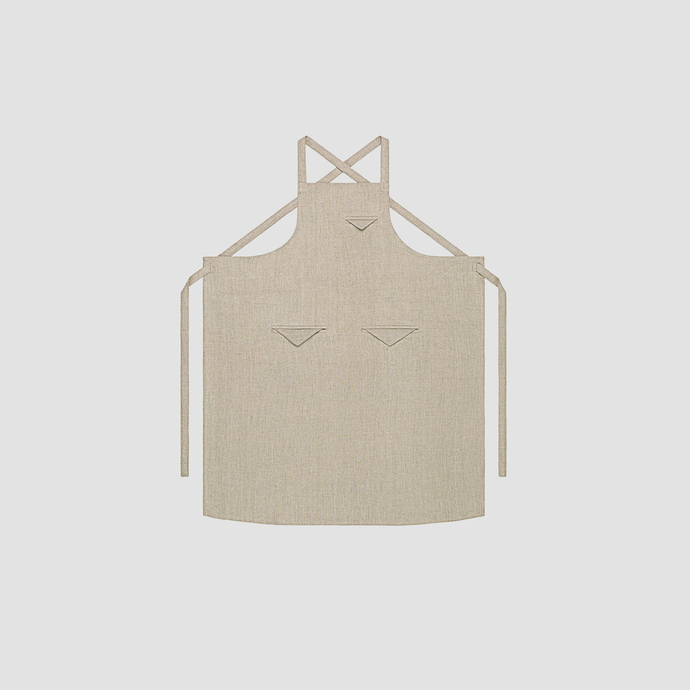 Unisex Triangle Pocket Apron in Natural Linen