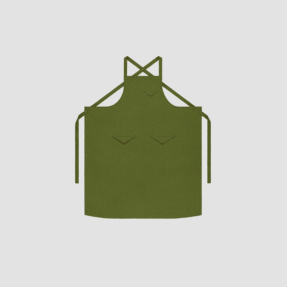 Unisex Triangle Pocket Apron in Moss Linen