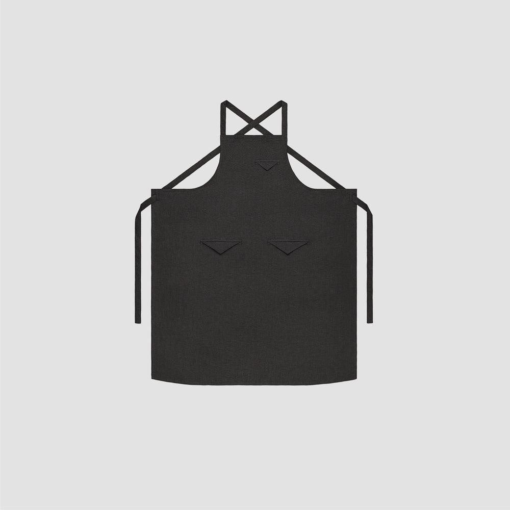 Unisex Triangle Pocket Apron in Black Linen