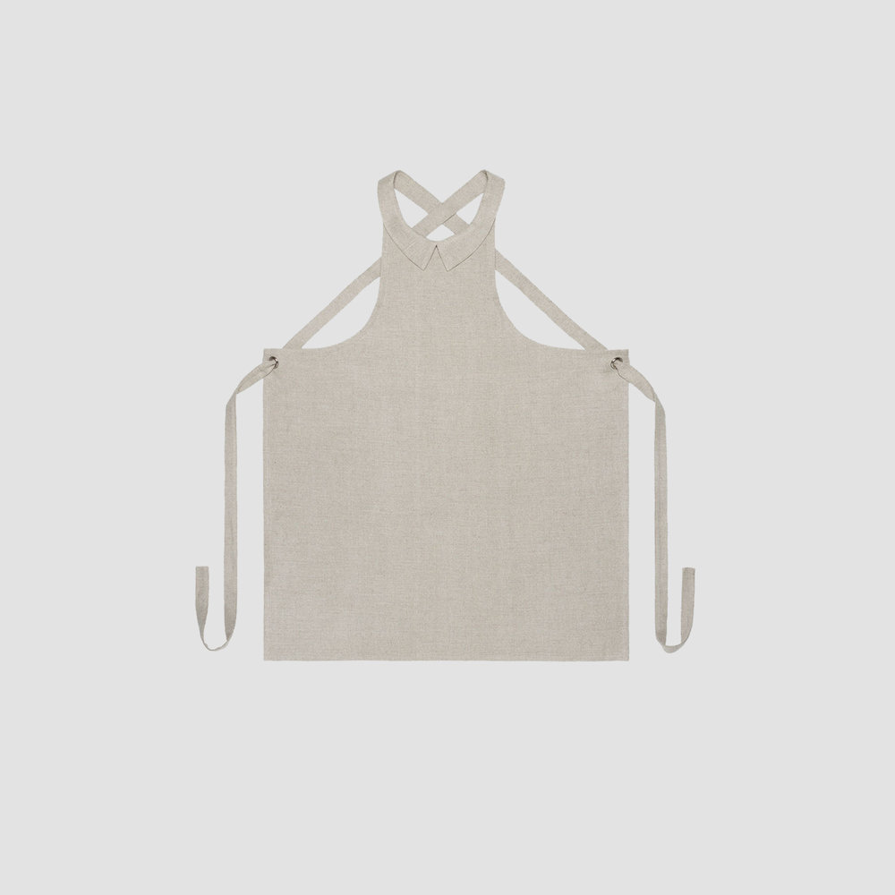 Dress Collar Apron in Natural Linen