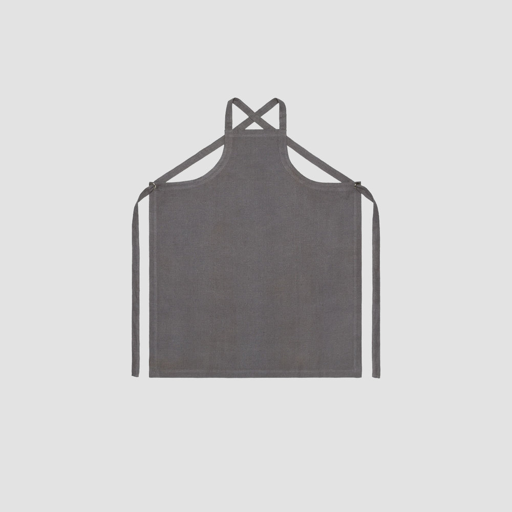 Unisex No Collar Apron in Grey Linen