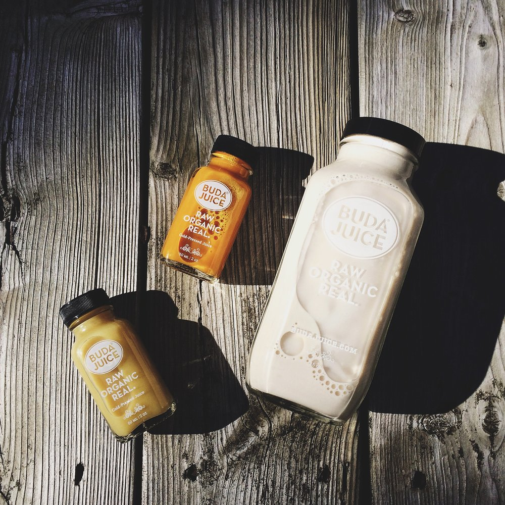 Most fresh/cold-pressed juice brands make almond milk, in addition to other little boosters and juices, as seen here