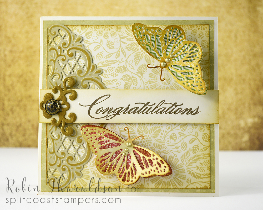 Background stamp and butterfly die Impression Obsession, sentiment from Hero Arts and Marianne Crafts die.