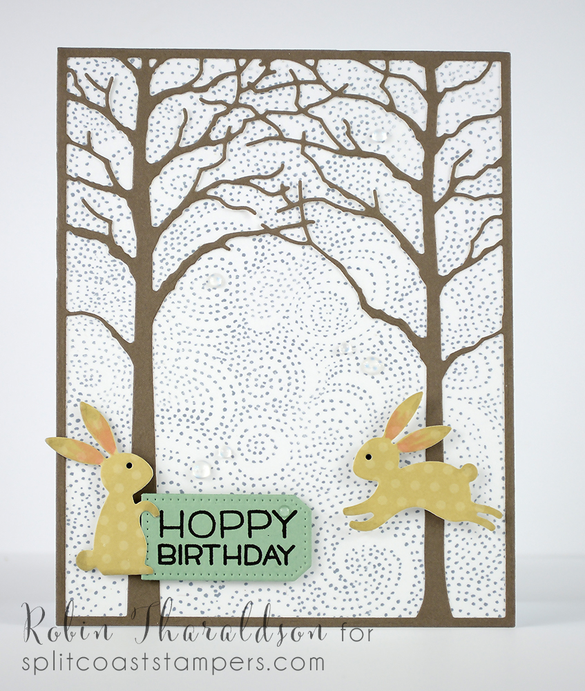 Background stamp  and bunnies by Impression Obsession, Memory Box trees, sentiment Lawn Fawn and pierced tag from MFT.