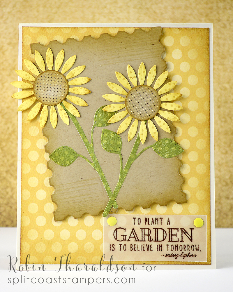 Sunflowers from Cheery Lynn, foliage Simon Says Stamp, postage stamp die MFT, sentiment Papertrey Ink.