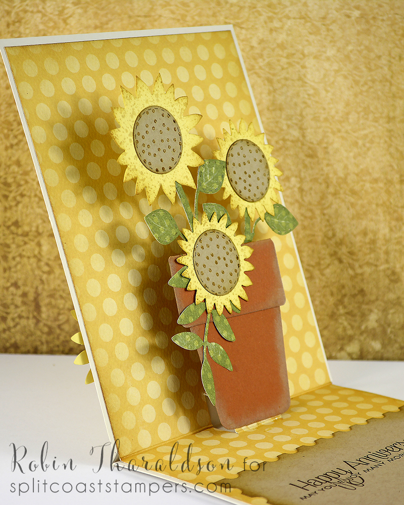 Sunflowers Simon Says Stamp and postage stamp die MFT, foliage Penny Black, flower pot Spellbinders and sentiment Papertrey Ink.