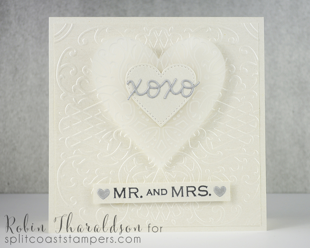 Spellbinders embossing folder, stitched hearts MFT, XOXO die Lawn Fawn, sentiment Hero Arts.