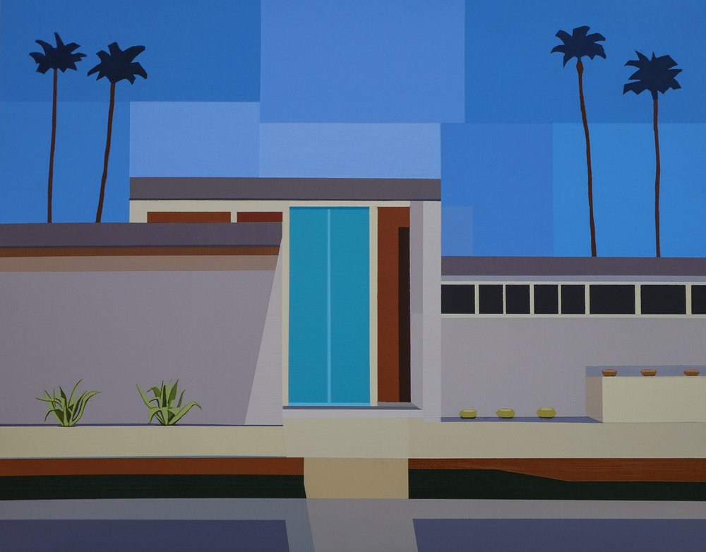 Andy Burgess, Palm Springs Modern House III, 2017 acrylic on canvas, courtesy  Etherton Gallery