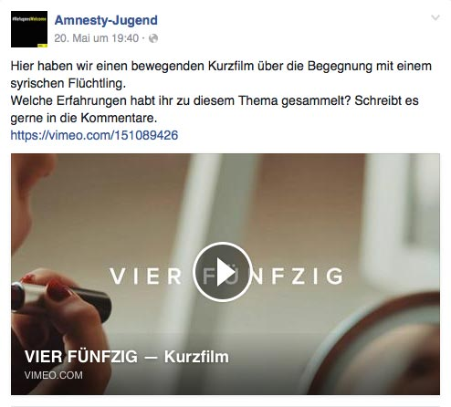 "Amnesty International's German Facebook page Amnesty-Jugend posted  "" Vier Fünfzig "", our short film directed by  Alicia Zimmermann"