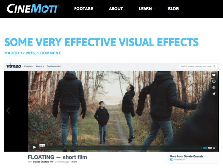 "CineMoti featured  my short film "" Floating "" in a blog post about effective visual effects"