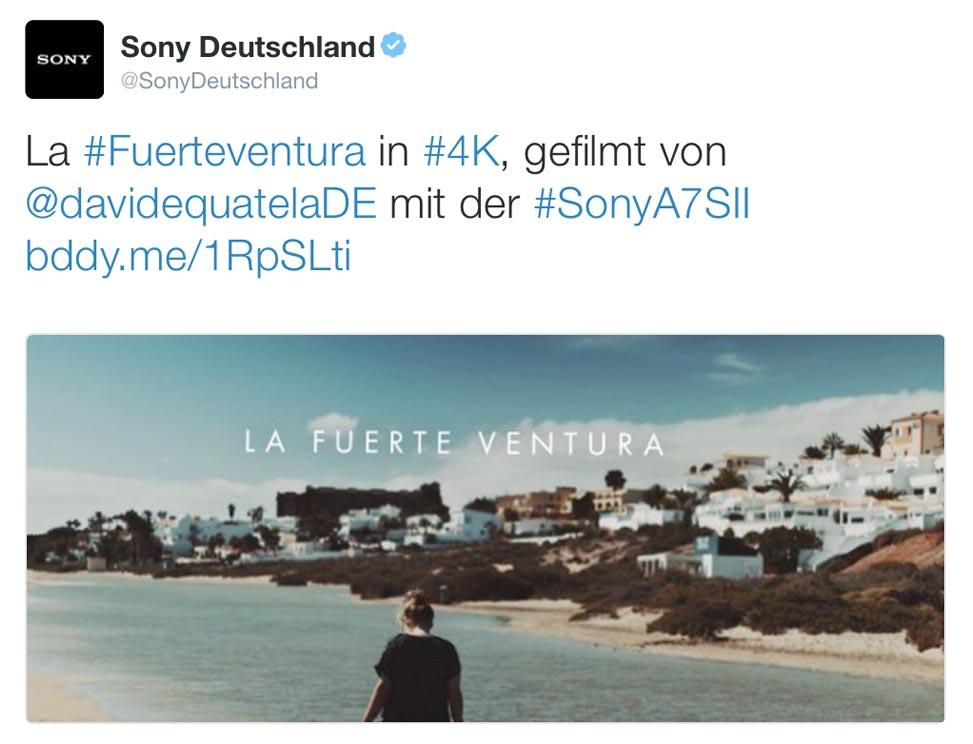 "Tweet by Sony Germany  about my film "" La Fuerte Ventura """