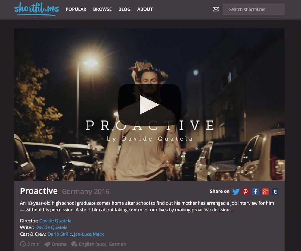 "Web short film platform Shortfil.ms featured  my film "" Proactive """