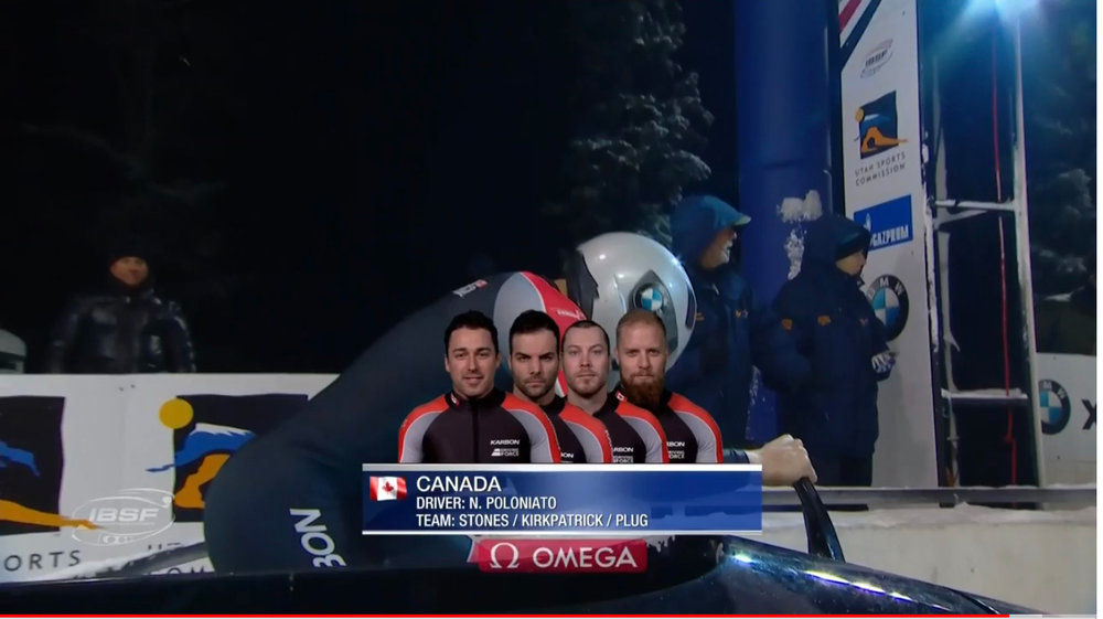 Team Polo in the 4-man bobsleigh