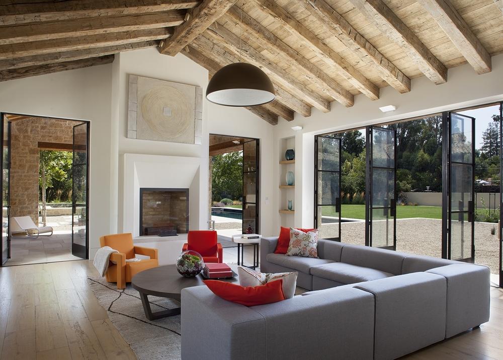 Interior   Residential   Hand Hewn Beams Reclaimed White Oak Flooring