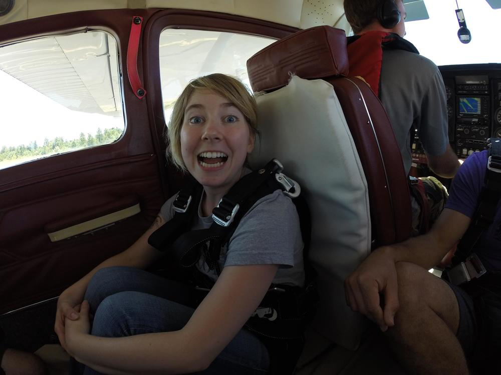 On the Cessna plane, taking off for my jump. Can you feel the nerves? Photo by  Pacific Northwest Skydiving .