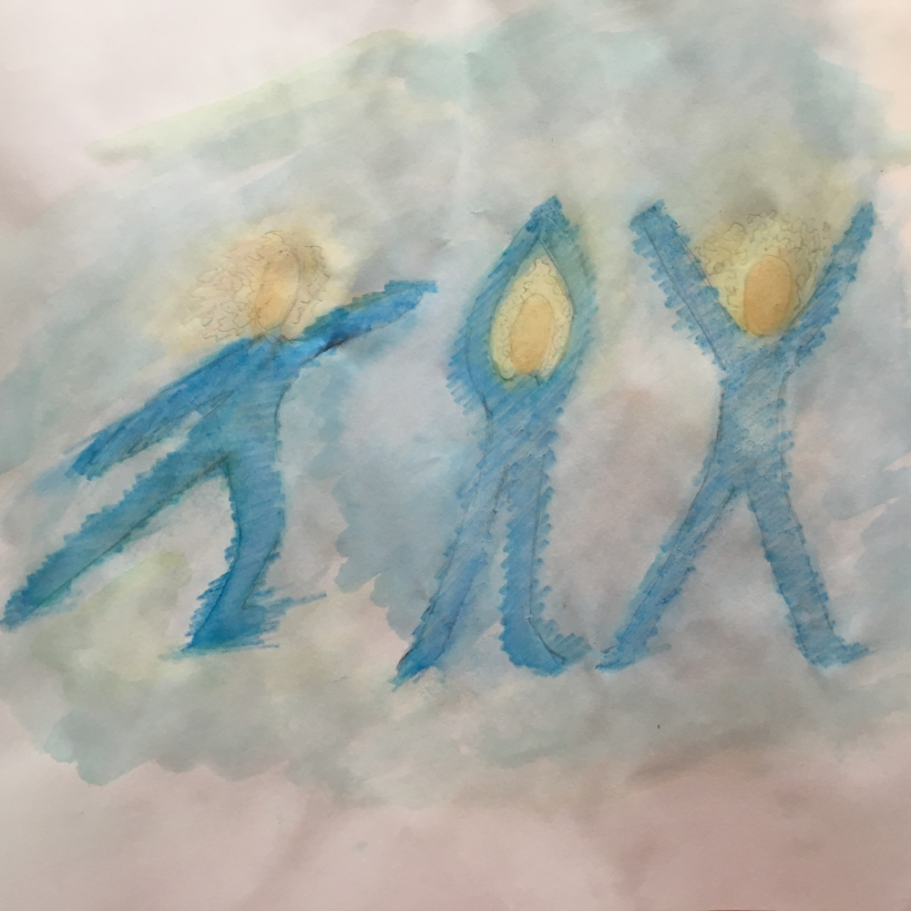 "A watercolor painting I did in art therapy class to express my newfound joy, depicting me dancing. It was pointed out to me that the dancing figures look like they're forming the word ""joy""."