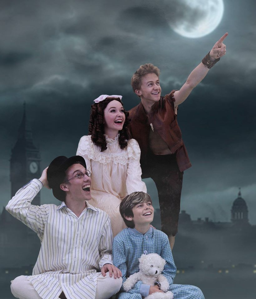 Troyer Coultas (John), Maggie Bera (Wendy), Atticus Burrello (Michael) and Riley Costello (Peter Pan)