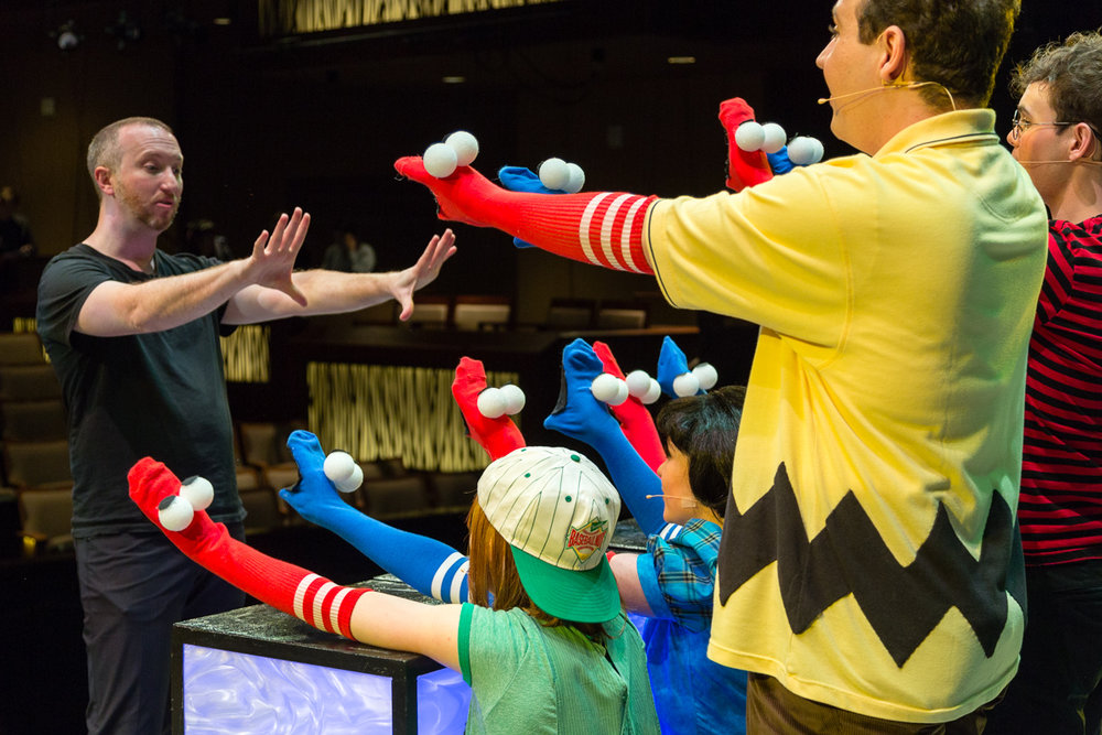 Choreographer Adam Cates (Anastasia,Gentleman's Guide) and the cast of The World According to Snoopy