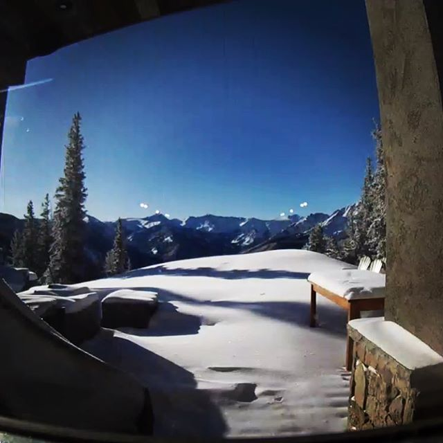A little snow is better than nothing #smithcabinaspen #nestcam #kitchenviews