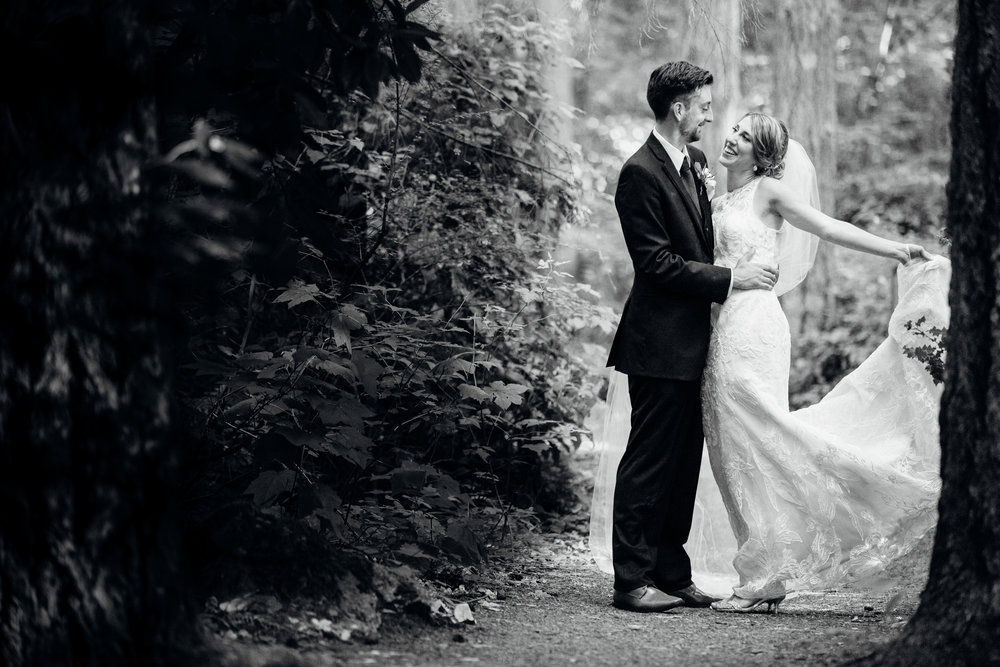 Bellevue Washington wedding, trail in the woods at Robinswood House