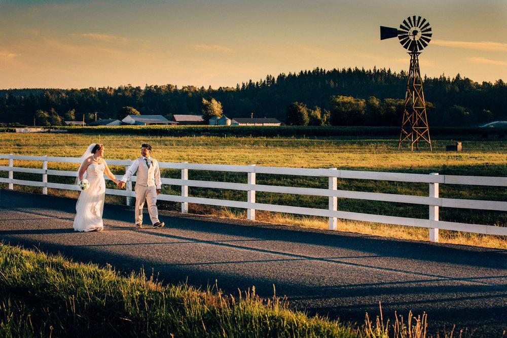 Arlington Washington wedding, windmill and Stilly Brook Farm at sunset