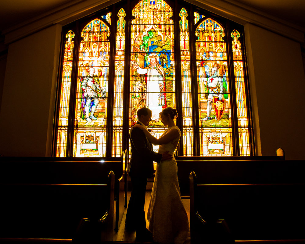 Bellingham Washington Wedding, Stained Glass at First Presbyterian Church