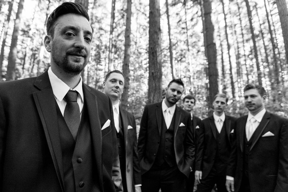 Bellevue Washington Wedding, groomsmen portrait in the woods