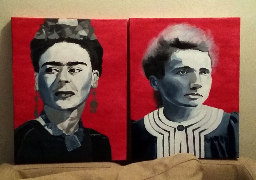 "Acrylic on two 14"" x 11"" canvases, Winter 2016, personal collection"