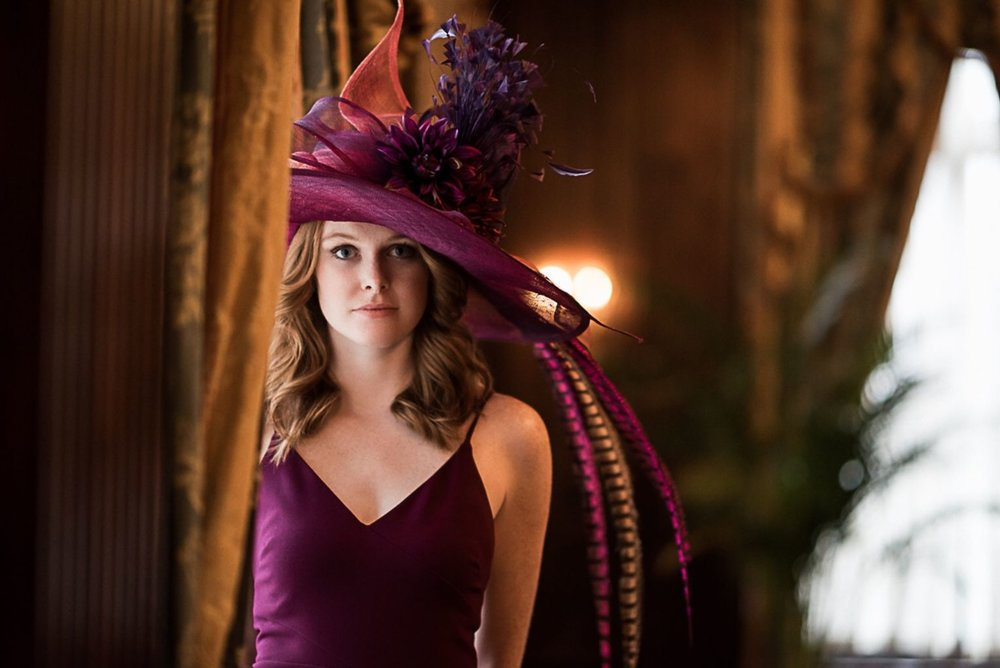 Photo by  Adrian Morales  taken in  The Hermitage Hotel  Ballroom of  Emily Grace King  wearing a custom made hat by Palm Beach milliner,  Carol Carr , and dress from  Stacey Rhodes Boutique.
