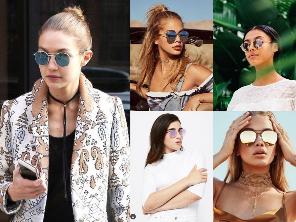 Mirrored Sunnies - Use these as statement pieces to add a pop of color & fun to a more neutral outfit or match the colored lenses to the rest of your outfit for a bright head-to-toe look!