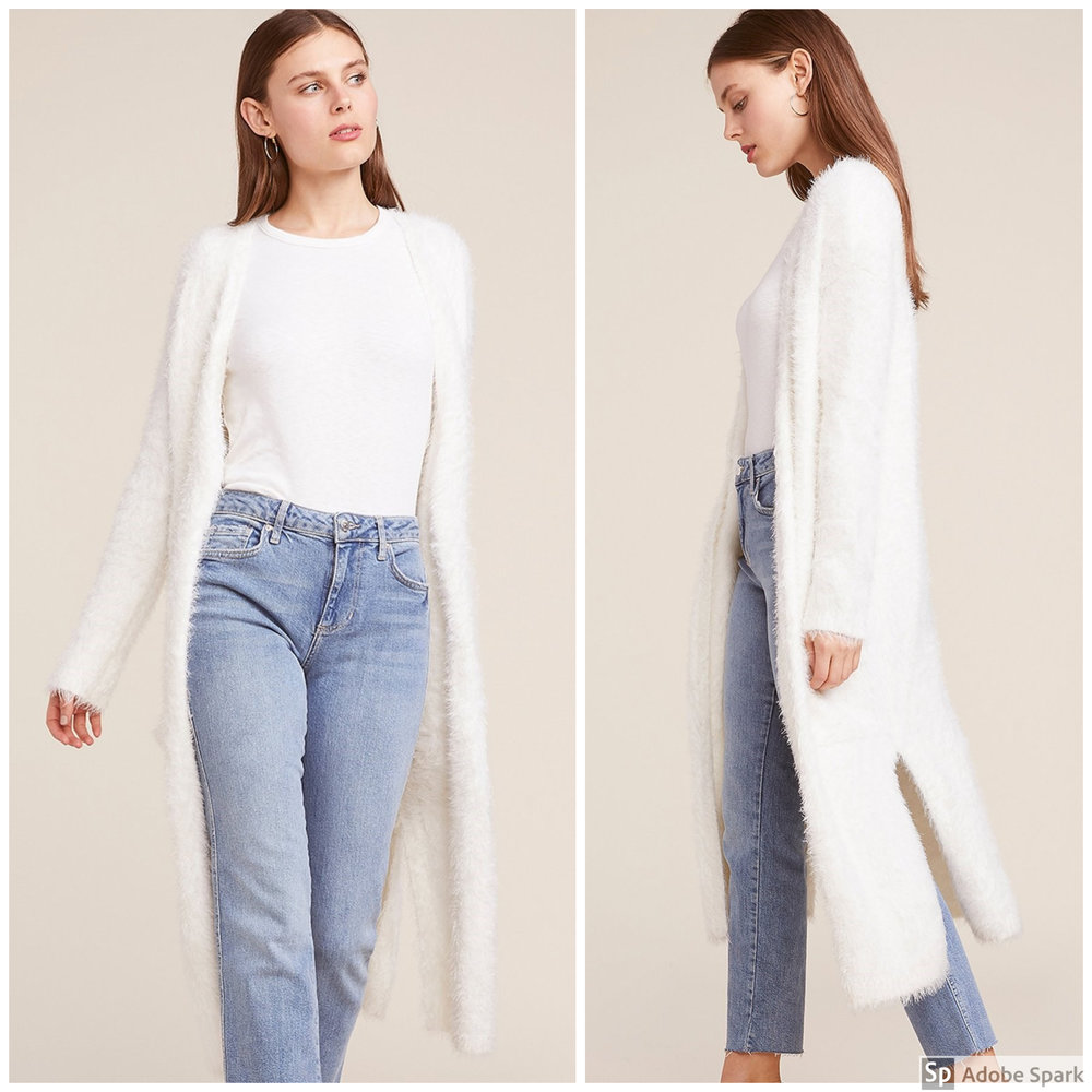 Ivory Cardigan - Spotlight Features: knee length & all-over super soft eyelash texture Why It's Perfect for Fall: It's soft and fuzzy, warm and cozy, & neutral enough to go with anything! Can a sweater get any better than that?