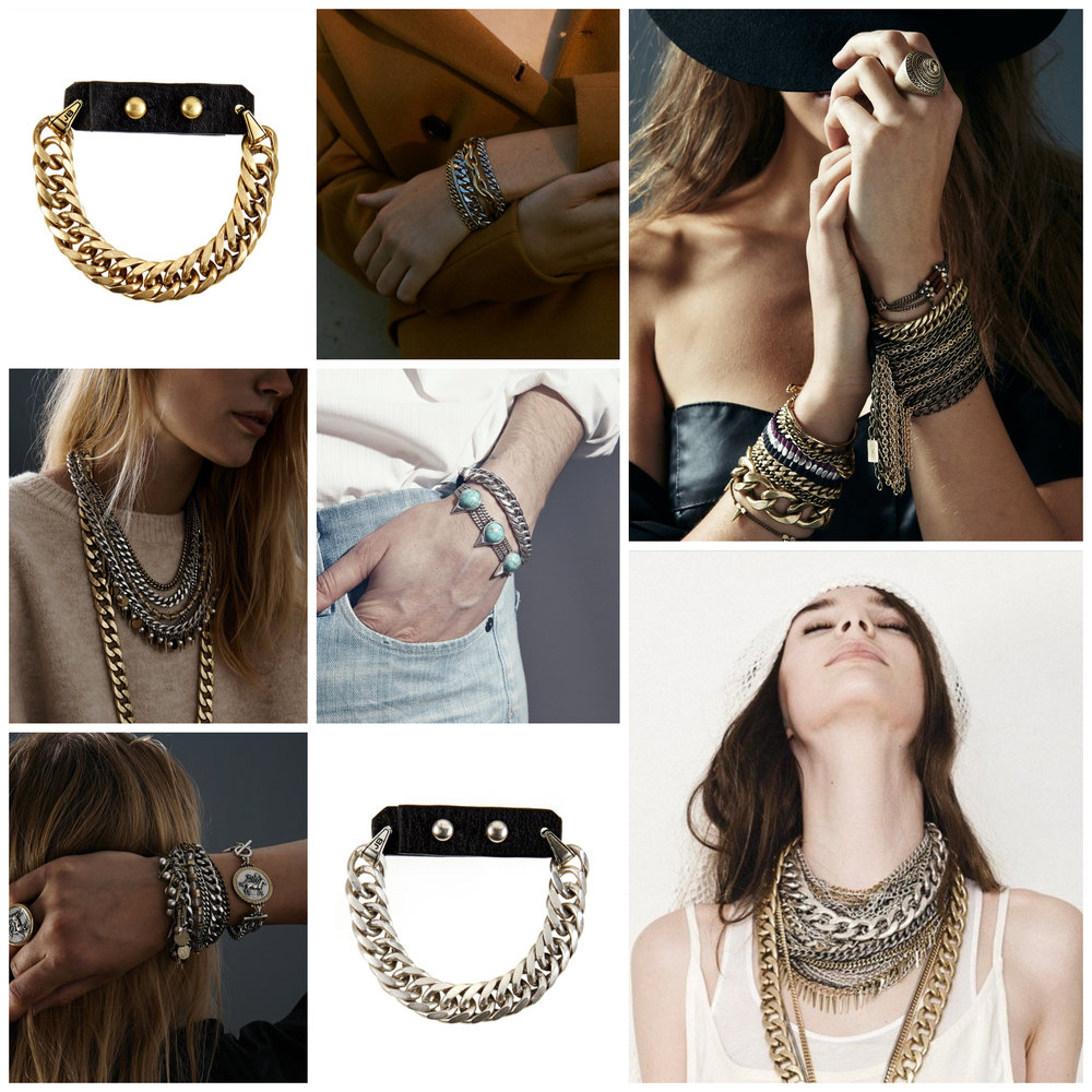 Chains - Over-sized chains and chunky metals are great for spicing up a fall outfit. Make a subtle statement with a single chain bracelet or mix it in with several bracelets. You can go from classy to cool by throwing on a leather jacket & a multi-chain necklace for your next date night outfit!