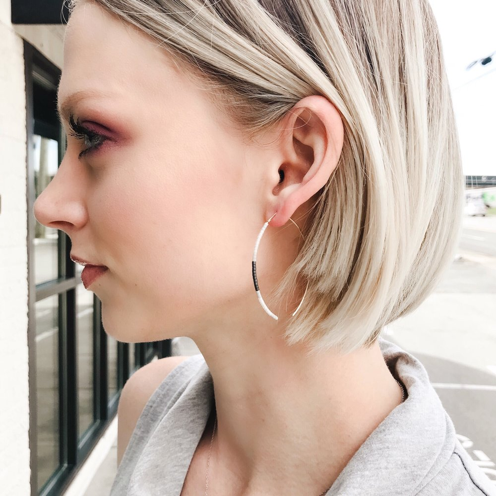 Not-So-Basic - We love these lightweight beaded earrings! They are a contemporary take on hoop earrings and the perfect final touch to this Outfit of the Week!